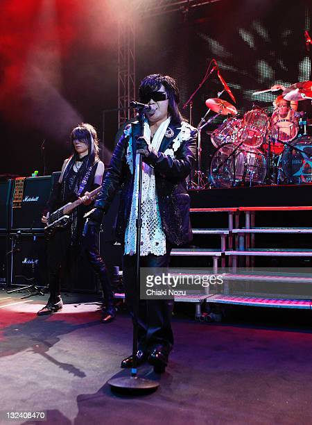 Heath Toshi and Yoshiki of X Japan perform at Shepherds Bush Empire on June 28 2011 in London England