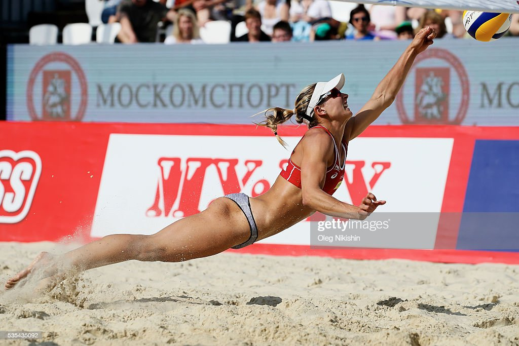 Heather Bansley of Canada digging during a game between Canada and Brazil on day 6 of the FIVB Moscow Grand Slam at sports complex Dynamo Vodny Stadium on May 29, 2016 in Moscow, Russia.