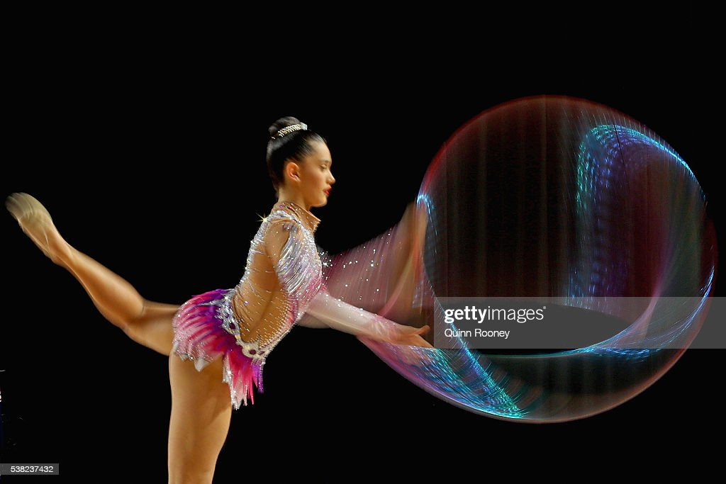Heather Blakeway of Queensland competes with the hoop in the rhythmic gymnastics during the 2016 Australian Gymnastics Championships at Hisense Arena...