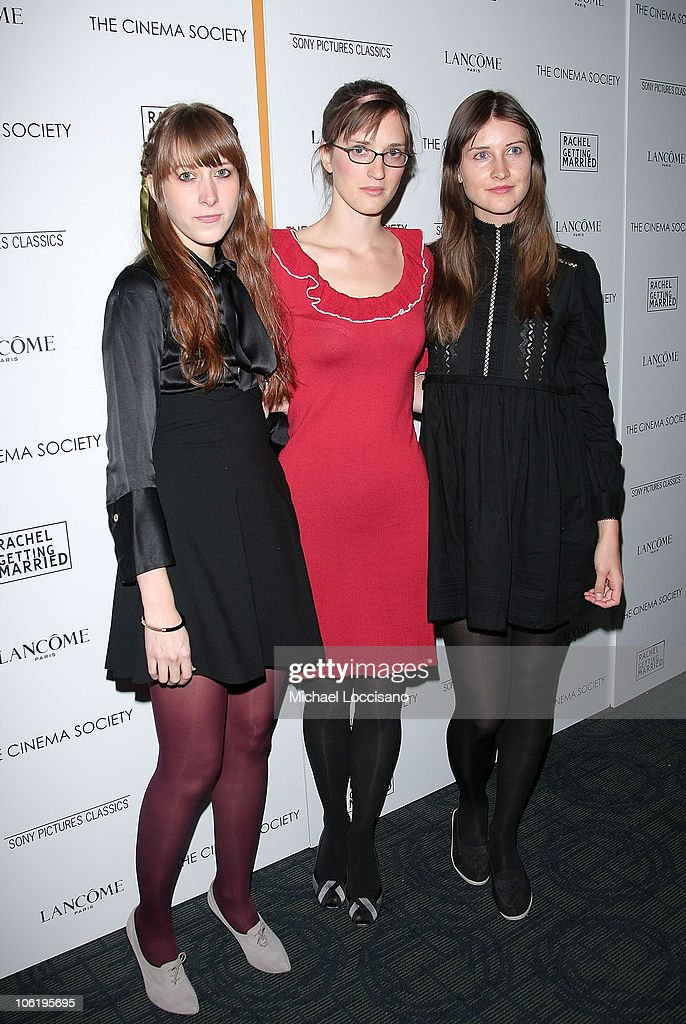Heather D'Angelo, Annie Hart and Erika Forster of Au Revoir Simone attends a screening of 'Rachel Getting Married' hosted by The Cinema Society and Lancome at the Landmark Sunshine Theatre on September 25, 2008 in New York City.
