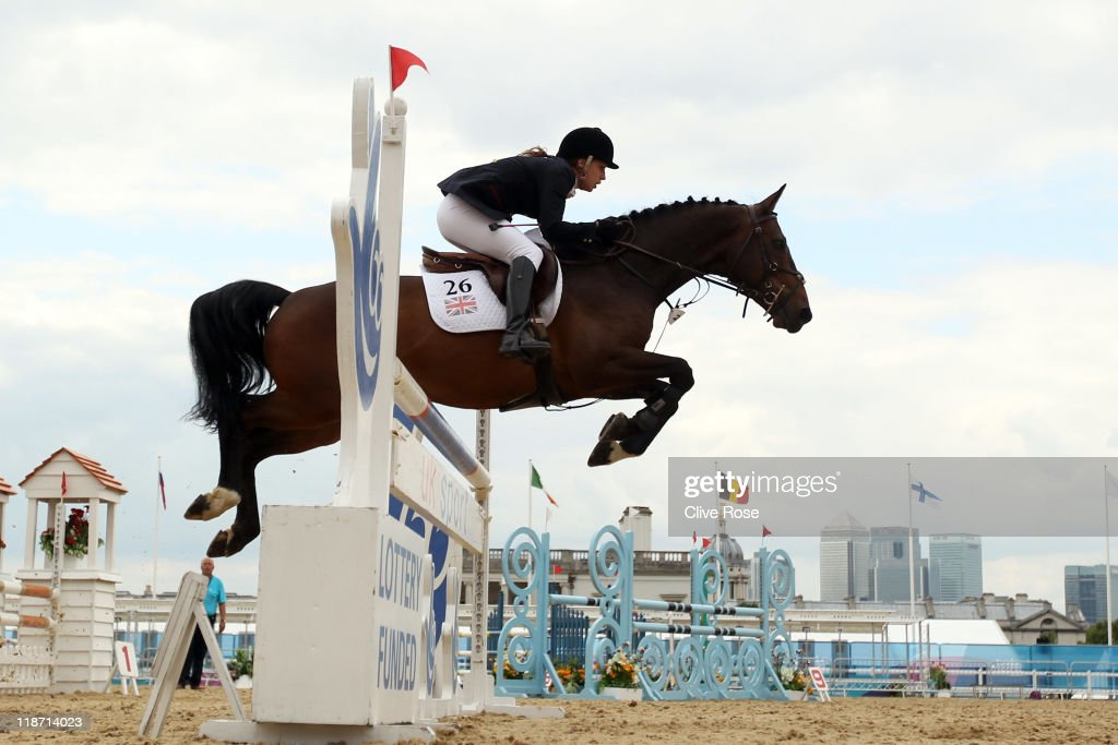 Heather Fell of Great Britain in action during the Show Jumping section of the UIPM World Cup Final as part of the LOCOG Test Event for London 2012...