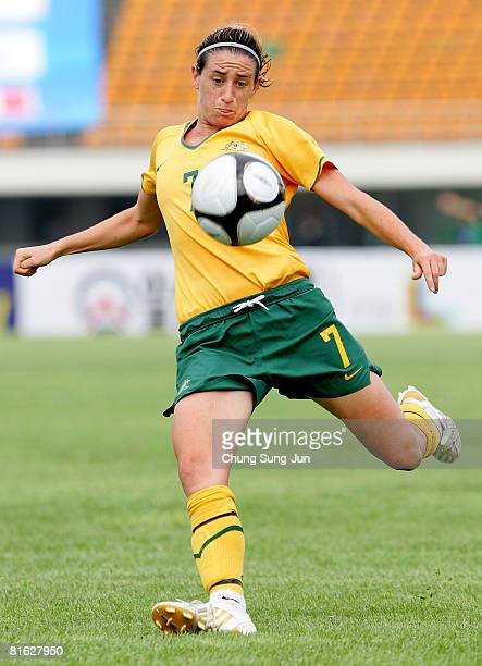 Heather Garriock of Australia kicks the ball during the 2008 Queen Peace Cup match between Australia and Brazil at the Suwon Sports Complex on June...