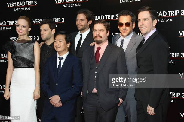 Heather Graham Justin Bartha Ken Jeong Bradley Cooper Zach Galifianakis Todd Phillips and Ed Helms attend 'Hangover Very Bad Trip III' Paris premiere...