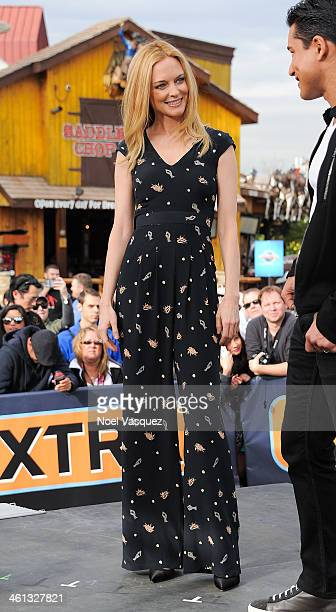 Heather Graham visits 'Extra' at Universal Studios Hollywood on January 7 2014 in Universal City California