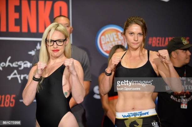 Heather Hardy and Kristina Williams pose for photos at the weighin Heather Hardy will be challenging Kristina Williams in a Flyweight bout on October...