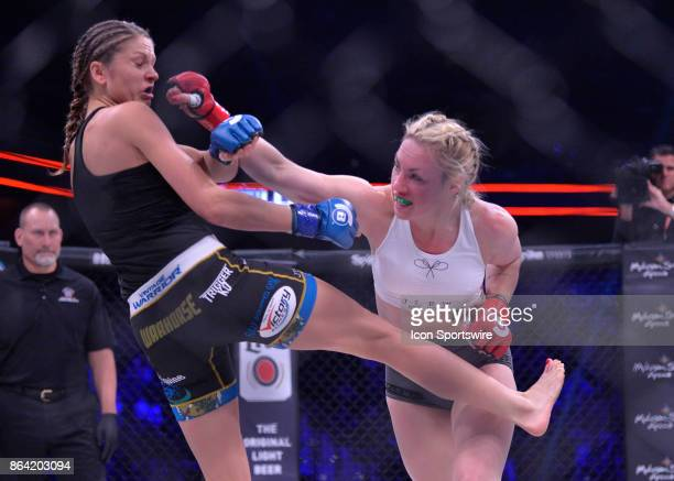 Heather Hardy takes on Kristina Williams in a Flyweight bout on October 20 2017 at Bellator 185 at the Mohegan Sun Arena in Uncasville Connecticut...