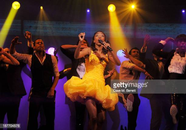 Heather Headley performs at the curtain call during the press night performance of 'The Bodyguard' at the Adelphi Theatre on December 5 2012 in...