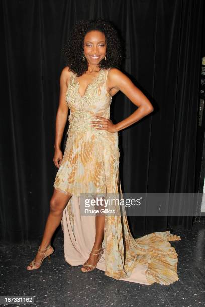 Heather Headley poses backstage at 'Il Divo A Musical Affair The Greatest Songs of Broadway featuring Heather Headley' on Broadway on November 7 2013...