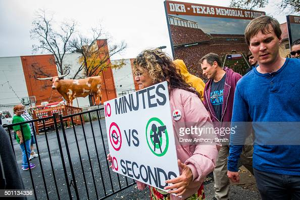 Heather Hill and other gun activists march close to The University of Texas campus December 12 2015 in Austin Texas In addition to the event put on...