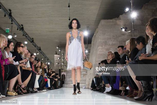 Heather Kemesky walks the runway during the Louis Vuitton Paris show as part of the Paris Fashion Week Womenswear Spring/Summer 2018 on October 3...