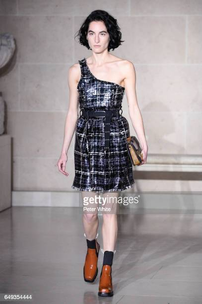 Heather Kemesky walks the runway during the Louis Vuitton show as part of the Paris Fashion Week Womenswear Fall/Winter 2017/2018 on March 7 2017 in...