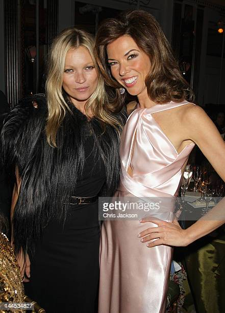 Heather Kerzner and Kate Moss pose during the Marie Curie Cancer Care Fundraiser Hosted by Heather Kerzner at Claridge's Hotel on May 15 2012 in...