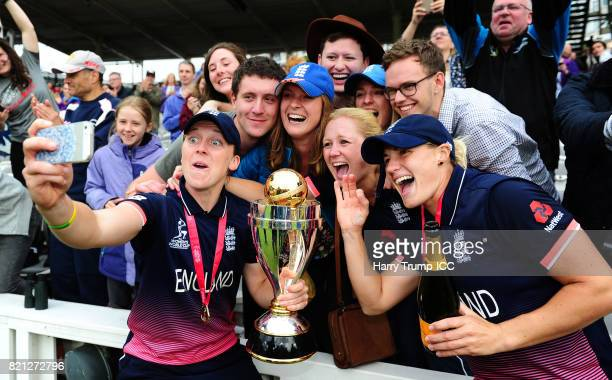 Heather Knight and Katherine Brunt of England pose for a selfie with the trophy during the ICC Women's World Cup 2017 Final between England and India...