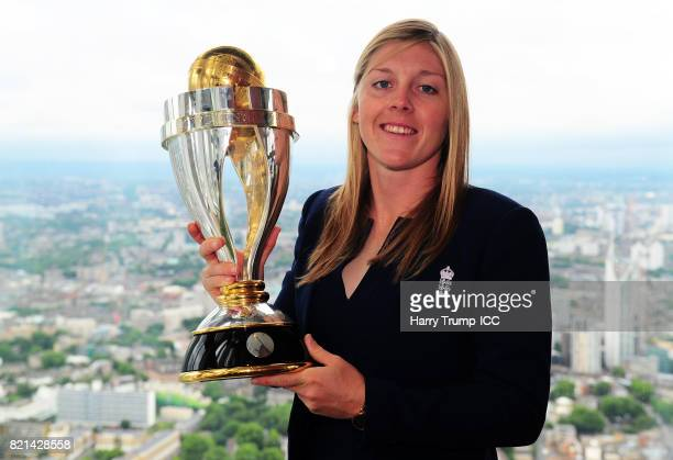 Heather Knight captain of England poses with the Women's World Cup Trophy during the ICC Women's World Cup 2017 Champions Press Conference at The...