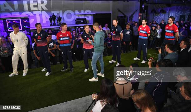 Heather Knight England Women's captain talks with TV presenter and Radio DJ Marvin Humes during the New Balance England Cricket Kit Launch at the New...