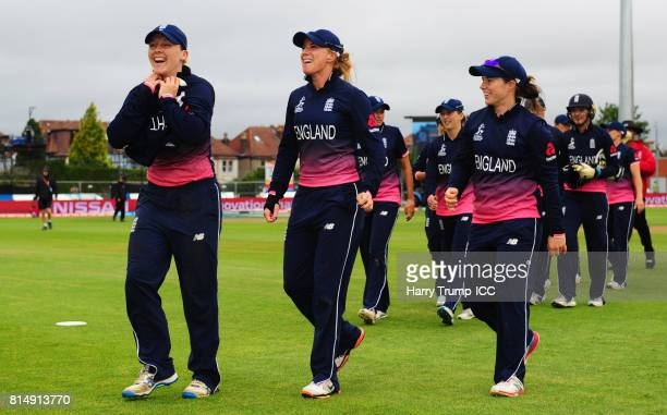 Heather Knight Lauren Winfield and Tammy Beaumont of England share a joke during the ICC Women's World Cup 2017 match between England and the West...