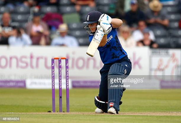 Heather Knight of England bats during the 2nd Royal London ODI of the Women's Ashes Series between England Women v Australia Women at The County...