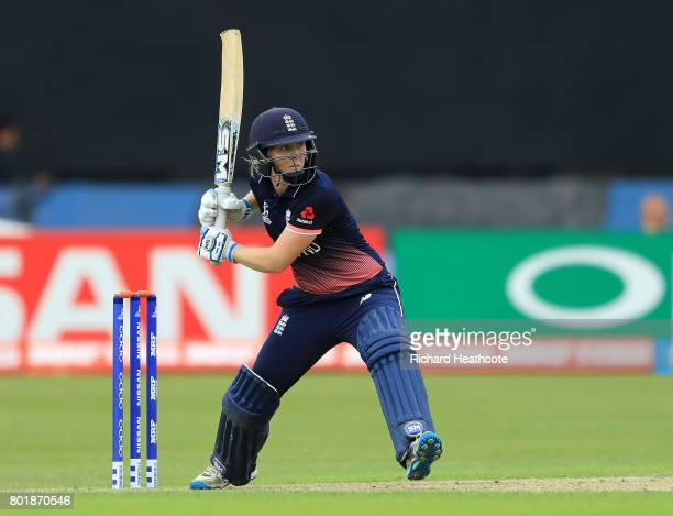 Heather Knight of England bats during the Women's ICC World Cup group match between England and Pakistan at Grace Road on June 27 2017 in Leicester...