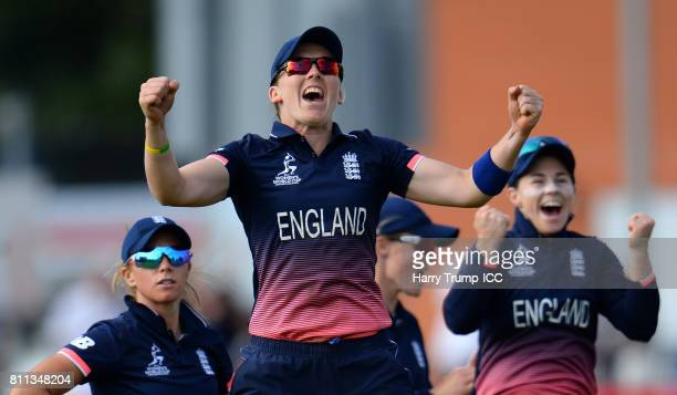 Heather Knight of England celebrates during the ICC Women's World Cup 2017 match between England and Australia at The Brightside Ground on July 9...