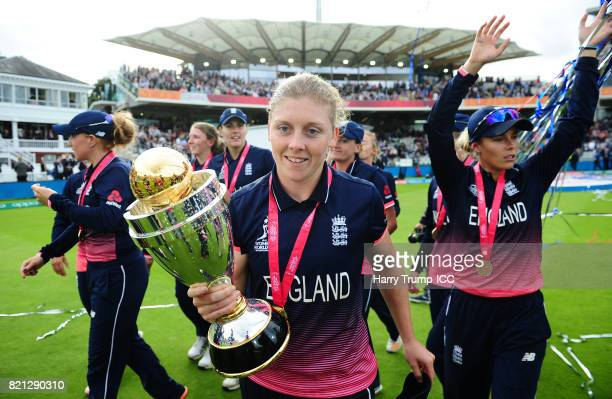 Heather Knight of England celebrates during the ICC Women's World Cup 2017 Final between England and India at Lord's Cricket Ground on July 23 2017...