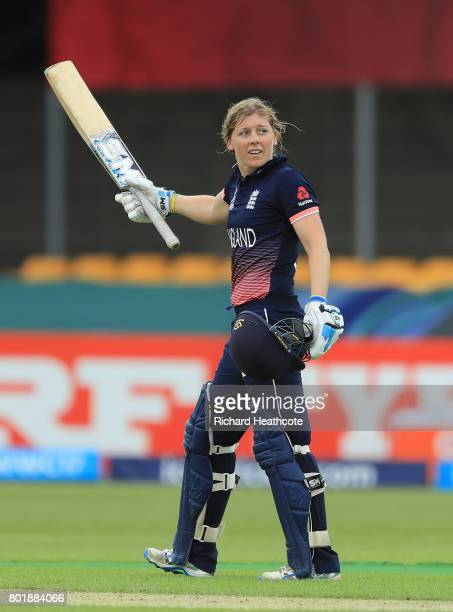 Heather Knight of England celebrates reaching her century during the Women's ICC World Cup group match between England and Pakistan at Grace Road on...
