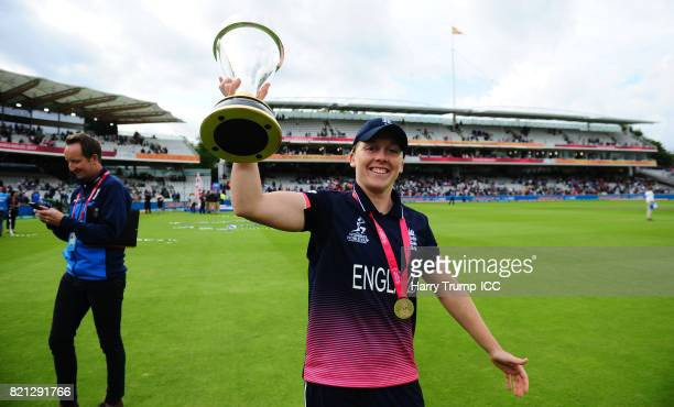 Heather Knight of England celebrates with the trophy during the ICC Women's World Cup 2017 Final between England and India at Lord's Cricket Ground...