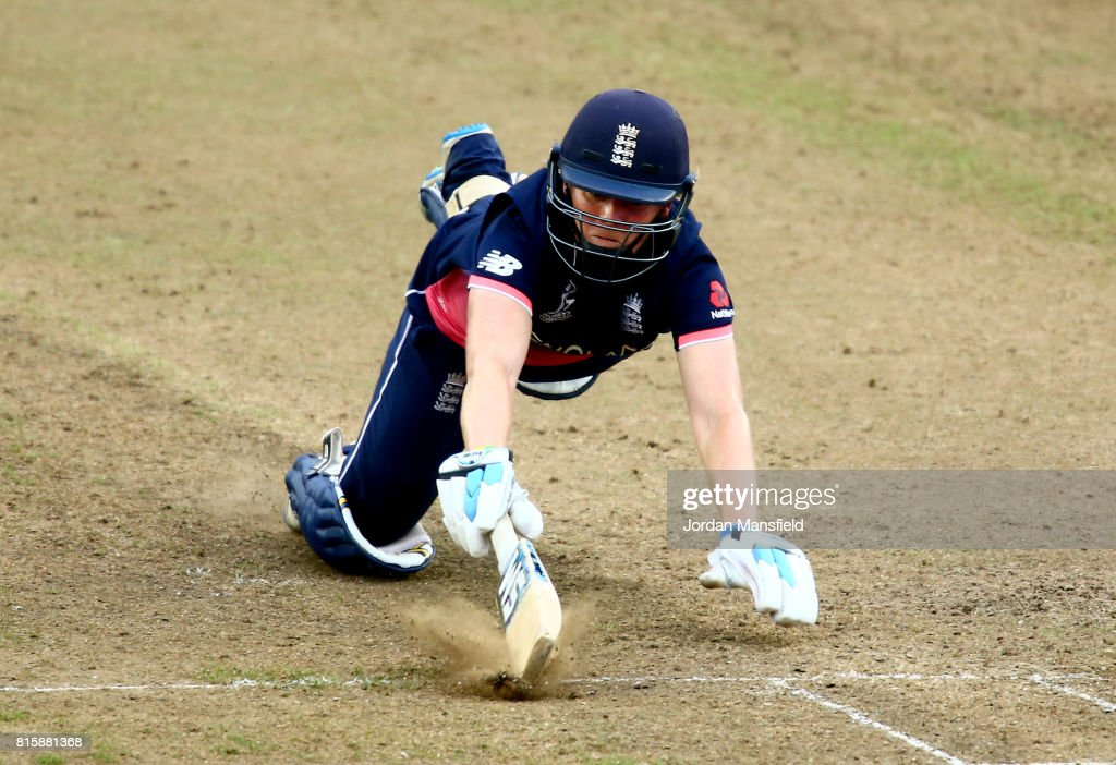 Heather Knight of England dives to make her ground during the ICC Women's World Cup 2017 match between England and West Indies at The County Ground on July 15, 2017 in Bristol, England.