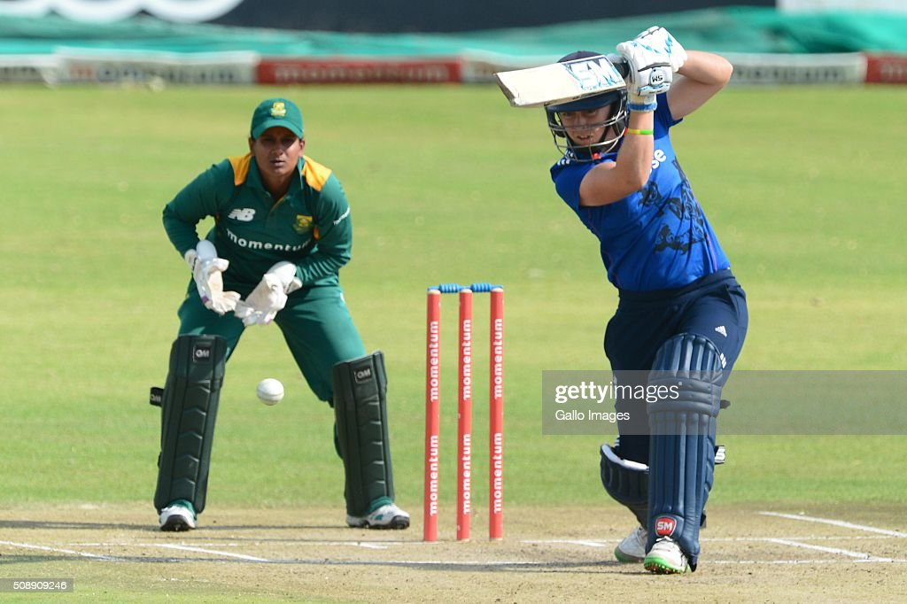 Heather Knight of England during the One Day International match between South African Women and England Women at Willowmoore Park on February 07, 2016 in Benoni, South Africa.