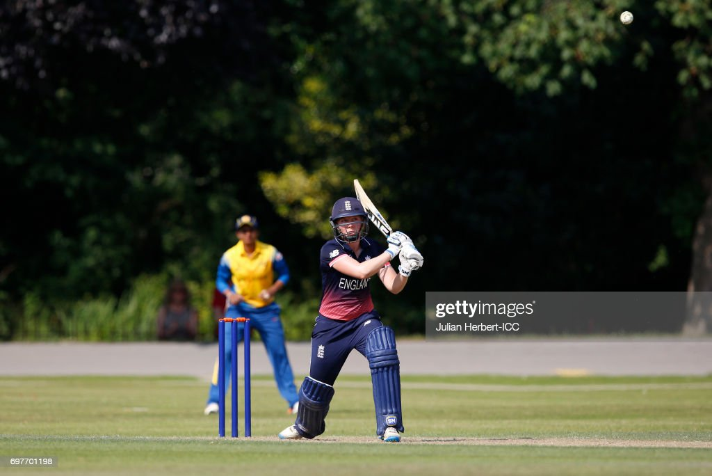 Heather Knight of England hits out during The ICC Women's World Cup warm up match between England and Sri Lanka at Queens Park on June 19, 2017 in Chesterfield, England.