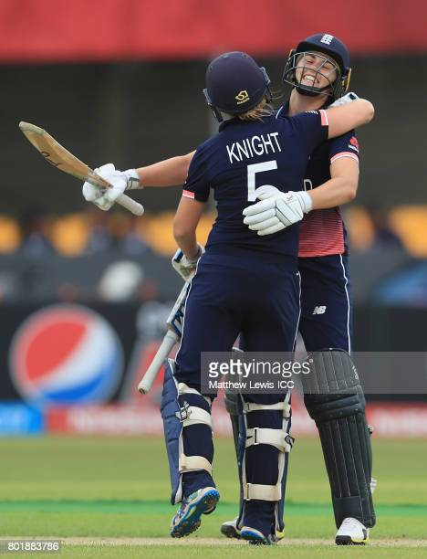 Heather Knight of England is congratulated on her century by Natalie Sciver during the ICC Women's World Cup 2017 match between England and Pakistan...