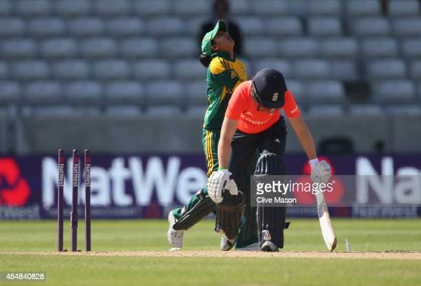 Heather Knight of England is stumped by Trisha Chetty of South Africa off the bowling of Chloe Tryon during the NatWest Women's International T20...