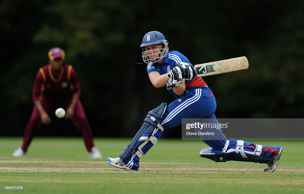 Heather Knight of England plays a shot during the NatWest Women's International T20 Series match between England Women and West Indies Women at Arundel on September 16, 2012 in London, England.