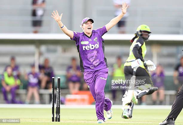 Heather Knight of the Hurricanes appeals as Stafanie Taylor of the Thunder is run out during the Women's Big Bash League match between the Sydney...