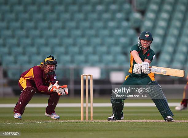 Heather Knight of the Tasmania Roar bats during the WT20 match between Tasmania and Queensland Aurora Stadium on November 28 2014 in Launceston...