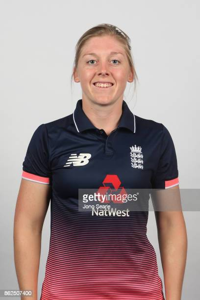 Heather Knight poses during the England women's Test headshots session on October 13 2017 in Brisbane Australia