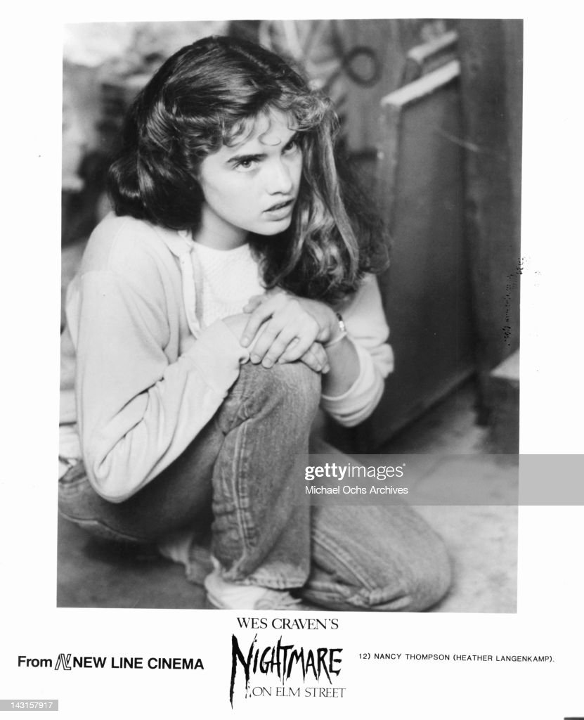 Heather Langenkamp crouching in a scene from the film 'A Nightmare On Elm Street' 1984