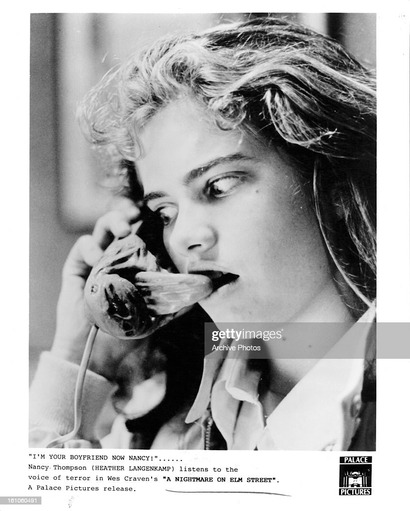 Heather Langenkamp hearing voice of terror on the phone in a scene from the film 'A Nightmare On Elm Street' 1984