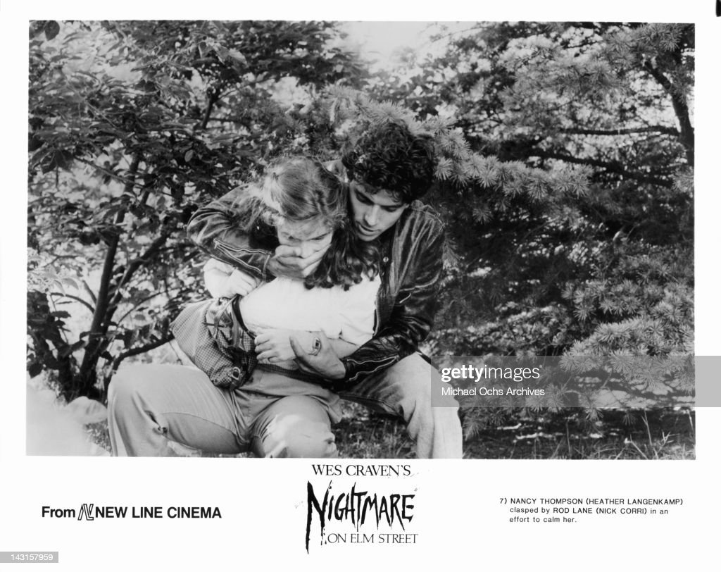 Heather Langenkamp is clasped by Nick Corri in an attempt to calm her in a scene from the film 'A Nightmare On Elm Street' 1984