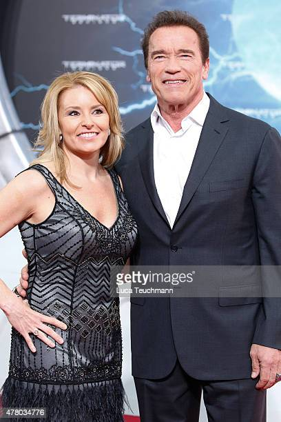 Heather Milligan and Arnold Schwarzenegger arrives at the European premiere of 'Terminator Genisys' at the CineStar Sony Center on June 21 2015 in...