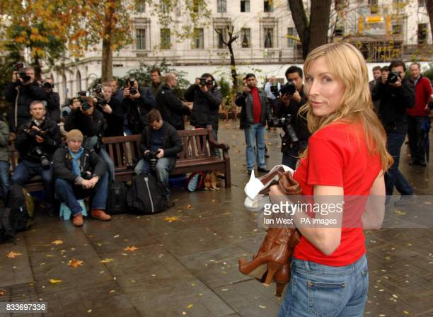Heather Mills launches a charity shoe auction in aid of MAG at Finsbury Circus in the City of London