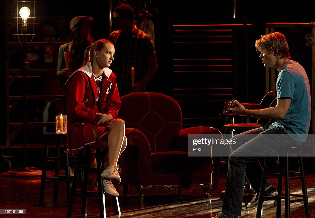 Heather Morris as 'Brittany' (L) and Chord Overstreet as 'Sam' in the 'Shooting Star' episode of GLEE airing Thursday, April 11, 2013 (9:00-10:00 PM ET/PT) on FOX.
