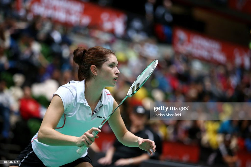 Heather Oliver of England in action during her mixed doubles match against Andrew Ellis and Lauren Smith of England during Day 3 of the London Badminton Grand Prix at The Copper Box on October 3, 2013 in London, England.
