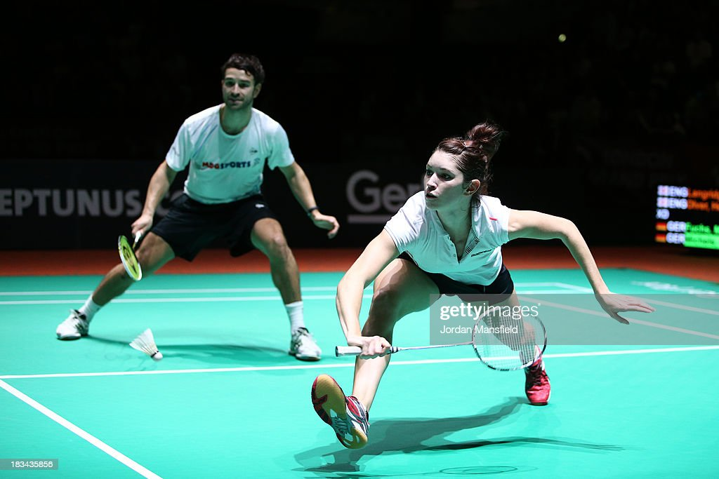 Heather Olver (R) and Chris Langridge (L) in action during the Final of the Mixed Doubles against Birgit Michels and Michael Fuchs of Germany during Day 6 of the London Badminton Grand Prix at The Copper Box on October 6, 2013 in London, England.