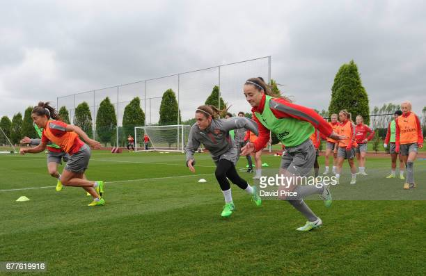 Heather O'Reilly and Anna Patten of Arsenal Ladies during an Arsenal Ladies Training Session at London Colney on May 3 2017 in St Albans England