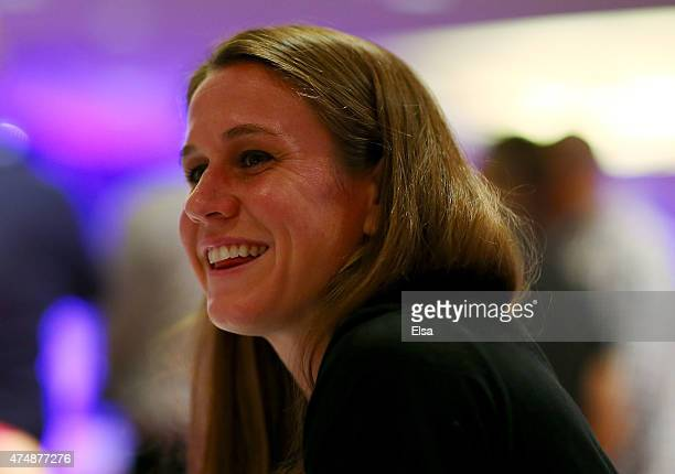 Heather O'Reilly answers questions during the United States Women's World Cup Media Day at Marriott Marquis Hotel on May 27 2015 in New York City