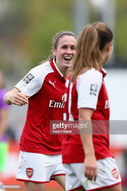 Heather O'Reilly celebrates towards Danielle Van De Donk after Danielle scores during the Women's Super League 1 match between Arsenal and Bristol...