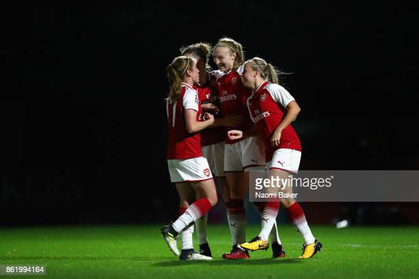 Heather O'Reilly Dominique Janssen and Beth Mead congratulate Louise Quinn after she scores during the FA Women's Super League Continental Cup match...