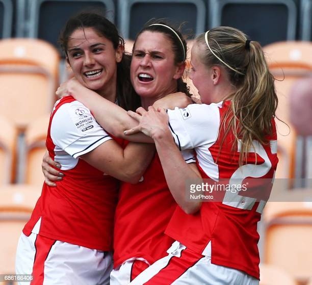 Heather O'Reilly of Arsenal Ladies celebrates her goal during Women's Super League 1 Spring Series match between Arsenal Ladies against Birmingham...