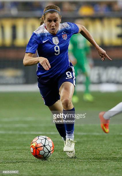 Heather O'Reilly of the United States drives towards the Haiti goal during the second half of the US Women's 2015 World Cup victory tour match at...