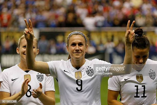 Heather O'Reilly of the United States is introduced before playing Trinidad Tobago in an international friendly match at the Alamodome on December 10...